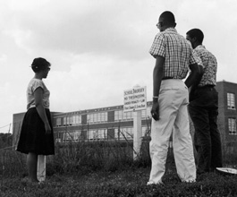 Prince Edward students looking at closed school, circa 1961.